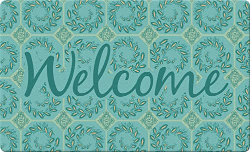 Toland Home Garden Elegant Ivy Welcome Teal 18 x 30 Inch Decorative Floor Mat Leaf Pattern Doormat