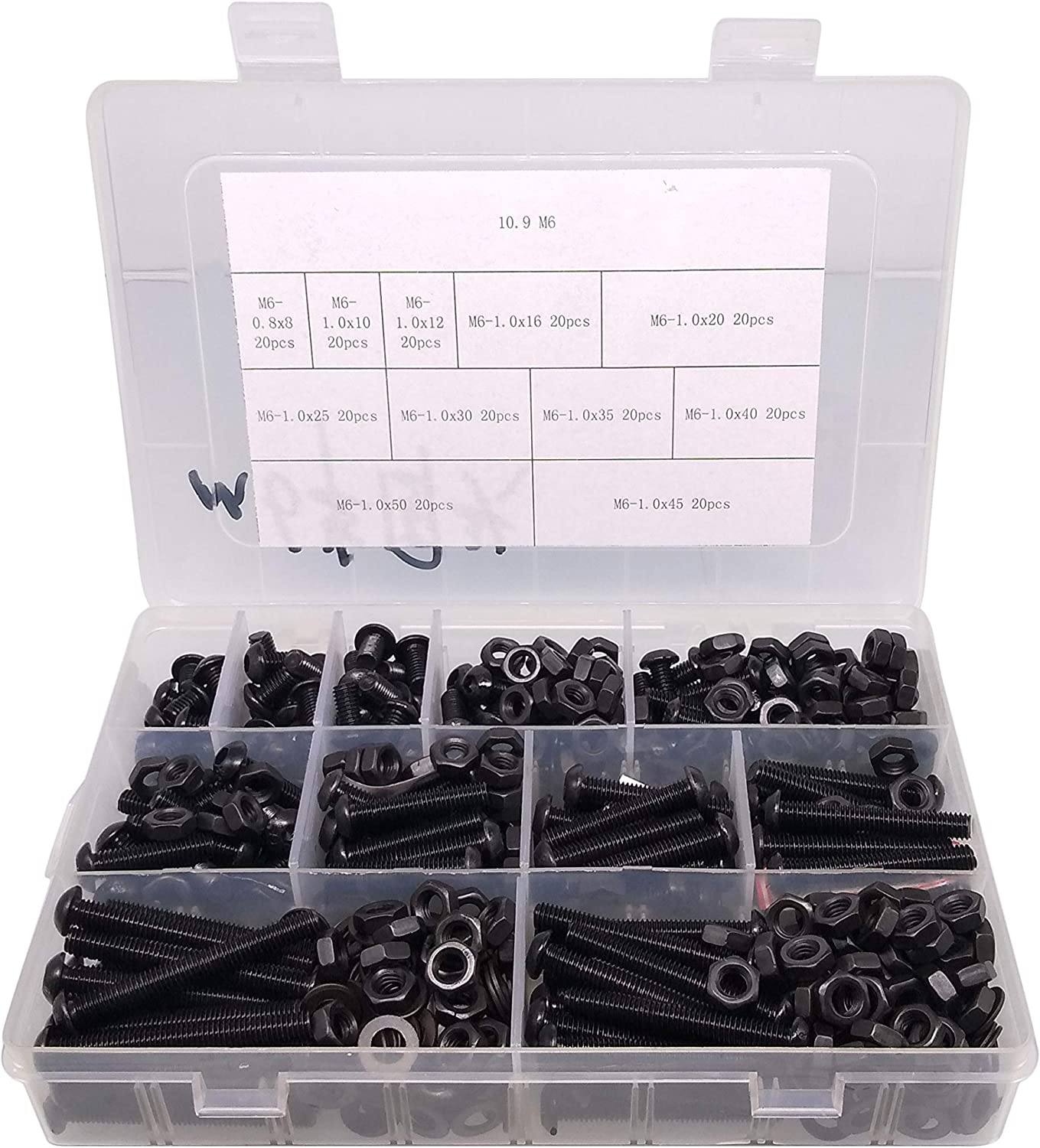 60Pcs M6 Hex Socket Screw Set 304 Stainless Steel Black Cup Head Nut Combination Boxed Anti‑Rust Fasteners Inserts Tool for Restoring Threads Automotive Repair