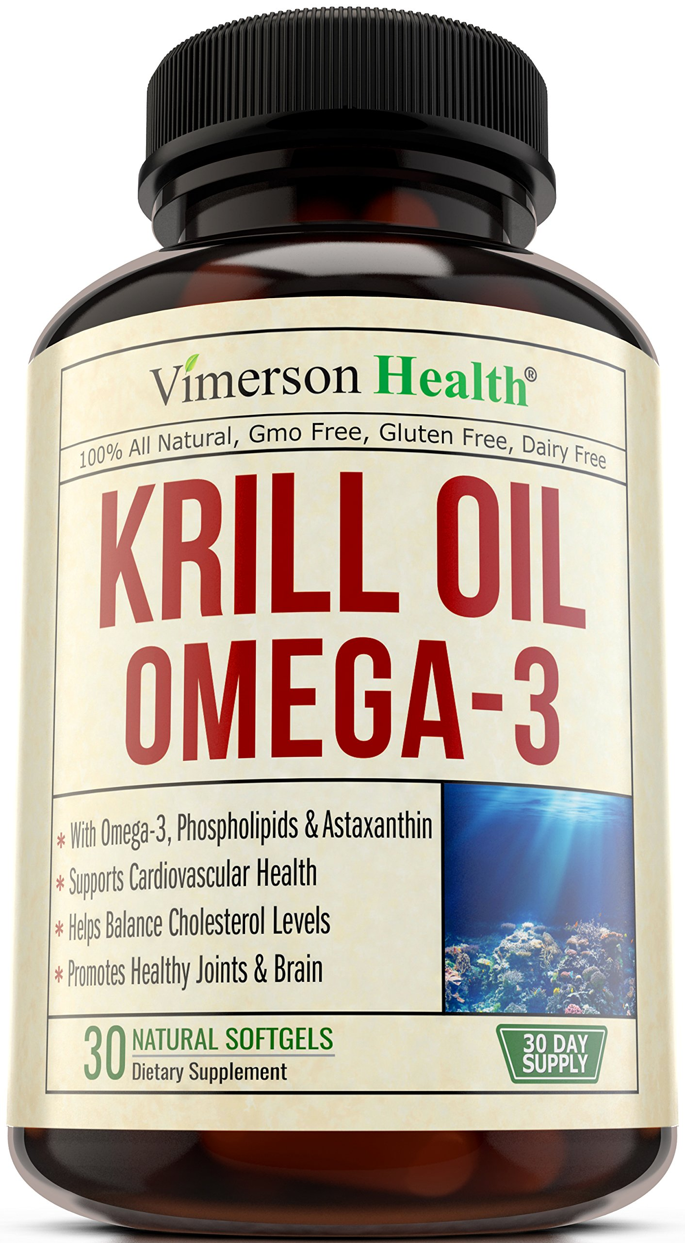 Krill Oil Omega 3 EPA & DHA - With Astaxanthin & Phospholipids. Helps Balance Cholesterol, Supports Heart Health and Brain Function. Antioxidant & Joint Health Support. Antarctic Krill Oil 30 Softgels