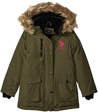 10e65e794dc2 Amazon.com  U.S. Polo Assn. Girls  Parka Jacket with Faux Fur Hood ...