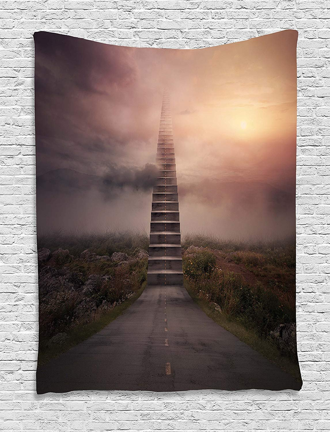 XHFITCLtd Surrealistic Tapestry, Ladder Going Up to Sky Foggy Air Enchanted Philosophical Scenery, Wall Hanging for Bedroom Living Room Dorm, 60 W X 80 L Inches, Pale Mauve Olive Green
