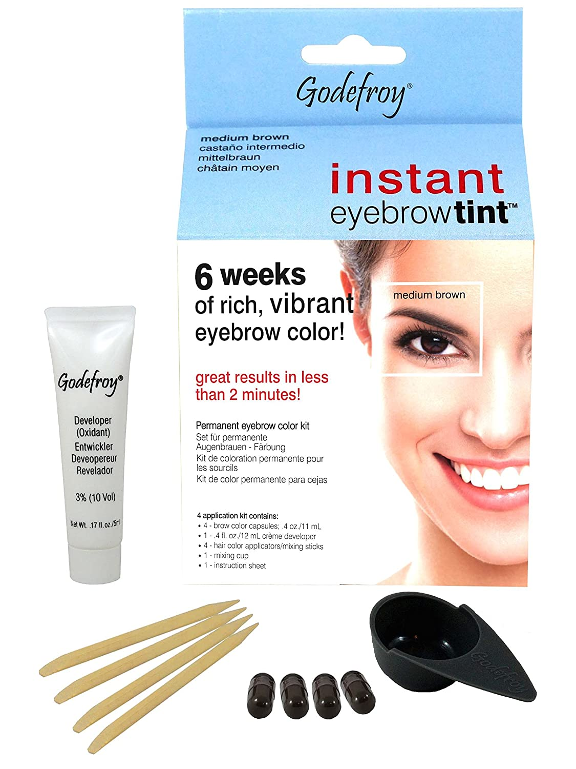 Godefroy Instant Eyebrow Tint Blister Medium Brown Amazon Beauty