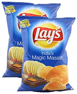 Lays Potato Chips - India's Magic Masala, 52 grams (1.83 oz) (Pack of 2) - India - Vegetarian