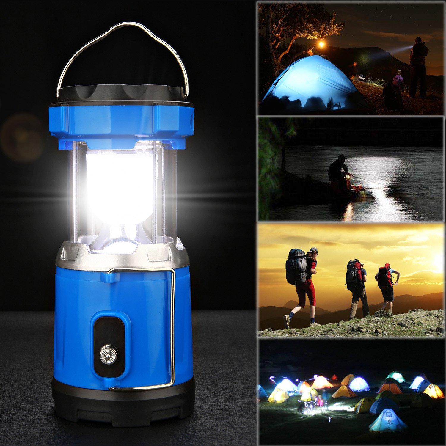 Camping Lantern Light, IRuiYinGo Rechargeable Lamp Solar LED Flashlight with Hanging Blue Color, Great light for Camping/ Hiking/ Backpacking...Outdoor Activities by IRuiYinGo (Image #7)