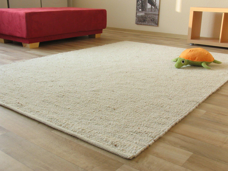 Landshut Handweb Teppich aus 100% Schurwolle - natur hell, Größe  200x290 cm