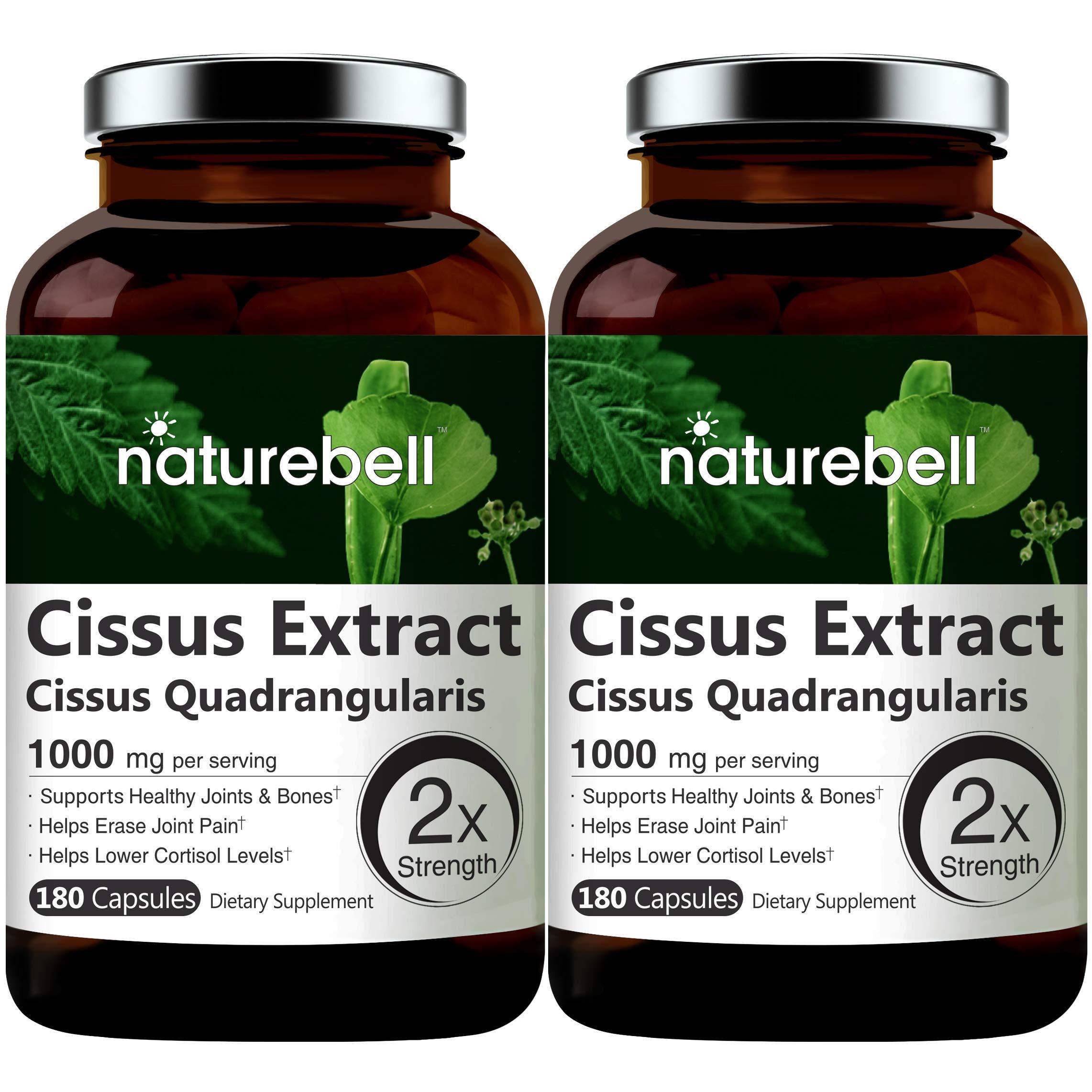 2 Pack NatureBell Cissus Quadrangularis Capsules, 1000mg Per Serving, 180 Capsules Per Bottle, Premium Cissus Capsules, Support Joint, Tendon, Bone, Skin, Hair and Cartilage, No GMOs