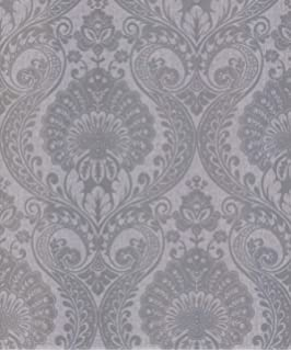 Crown Zahra Damask Wallpaper Charcoal M1159 Sample Amazon Co Uk