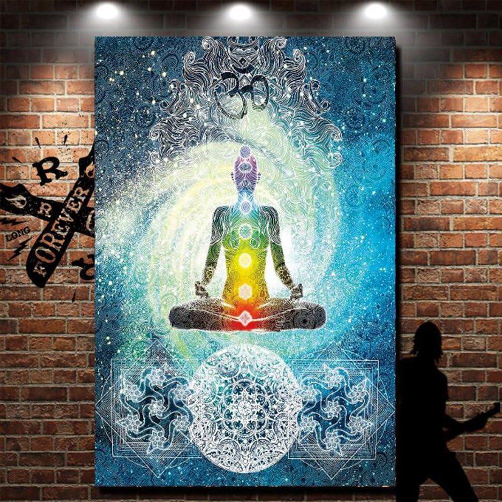 QCWN 78x58 inch Multi Poliestere arredo artistico per casa e giardino Arazzo zen da appendere alla parete motivo: meditazione con sette chakra