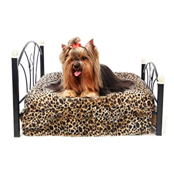 PAWZ Road Metal Frame Pet Bed for Small and Medium Dogs with Mattress Leopard