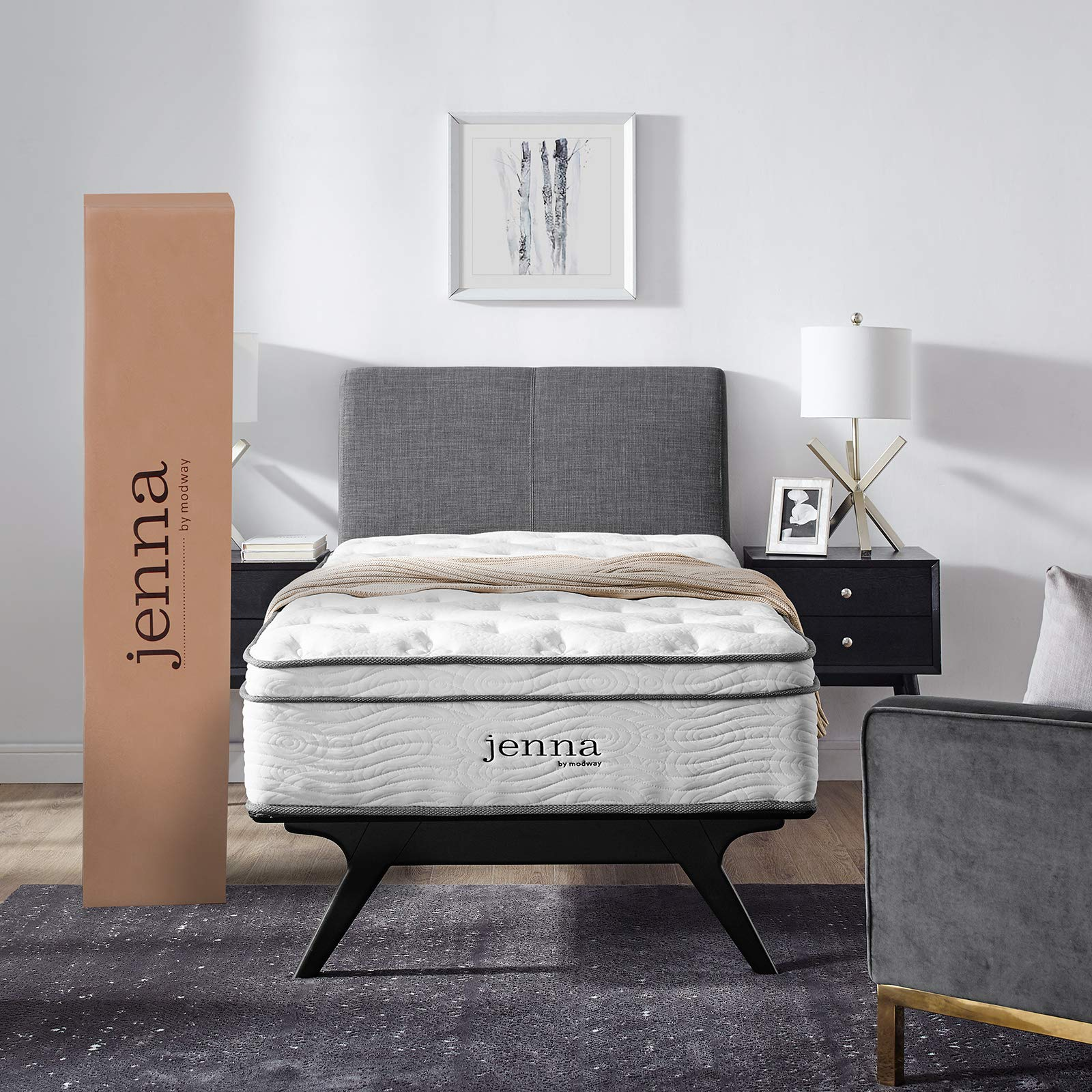 Modway Jenna 10'' Twin Innerspring Mattress - Top Quality Quilted Pillow Top - Individually Encased Pocket Coils - 10-Year Warranty by Modway