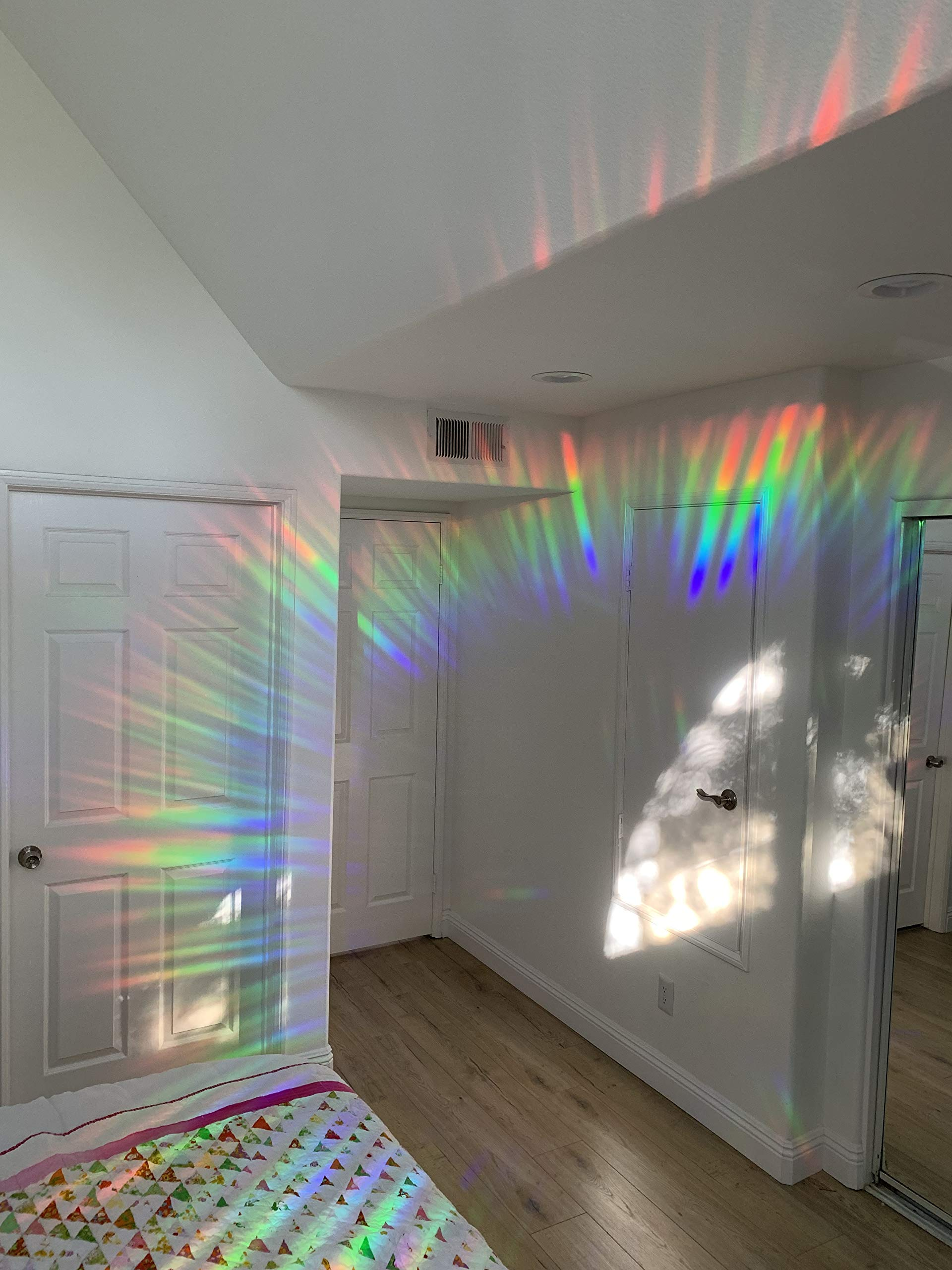 Decorative Window Film Holographic Prismatic Etched Glass Effect - Fill Your House with Rainbow Light 24'' X 36'' Panels - Ambrosia Pattern