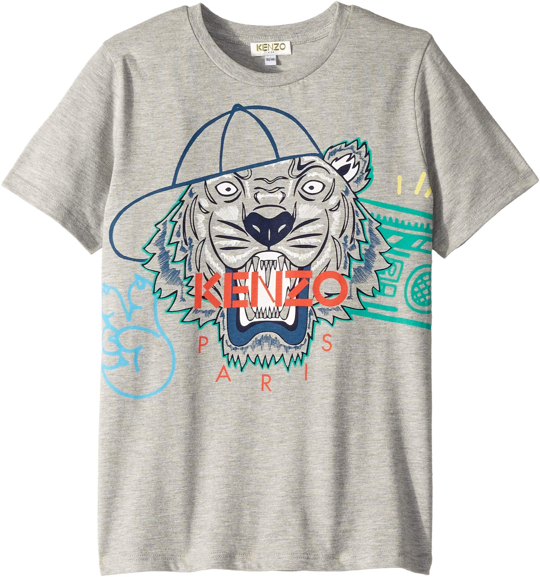 Kenzo Kids Boy's Summer Tiger Tee (Big Kids) Marl Grey 8A