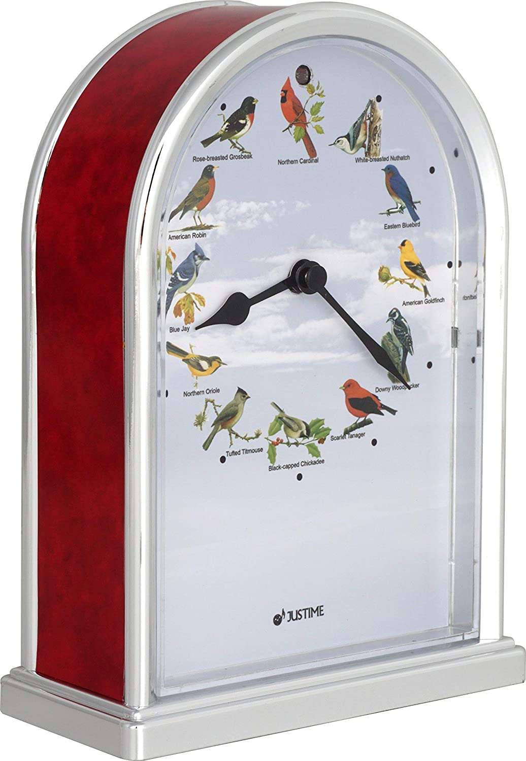 7.5 inch Tall Northern Cardinal Lovely Collection Plays 12 Popular Bird's Songs Table Clock Home Deco Multi-Color Unique Gift Selection (TCBD-R-RM-C)