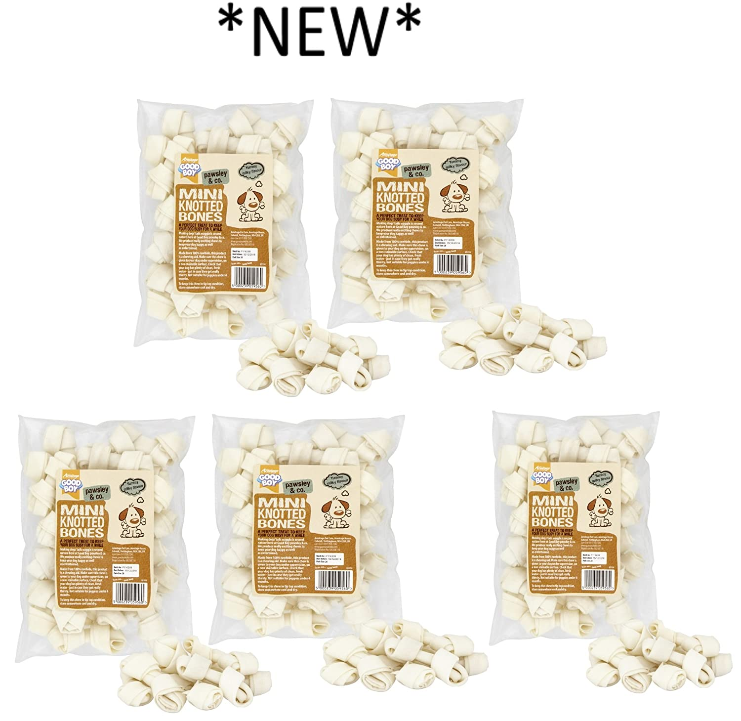 *NEW* 5 X 20 PACK GOODBOY & PAWSLEY MINI MILKY RAWHIDE BONE DOG CHEW TREAT 05956 ARMITAGE