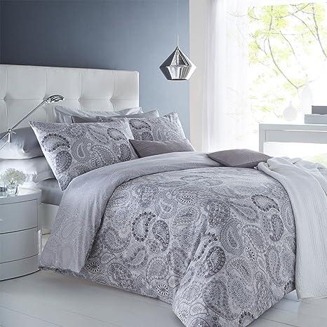 Pieridae Paisley Grey Duvet Cover Pillowcase Set Bedding Digital