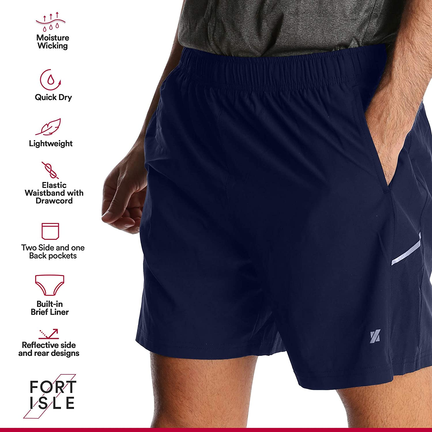 Quick Dry Breathable Fort Isle Mens Running Shorts Sport Workout Training Yoga Gym
