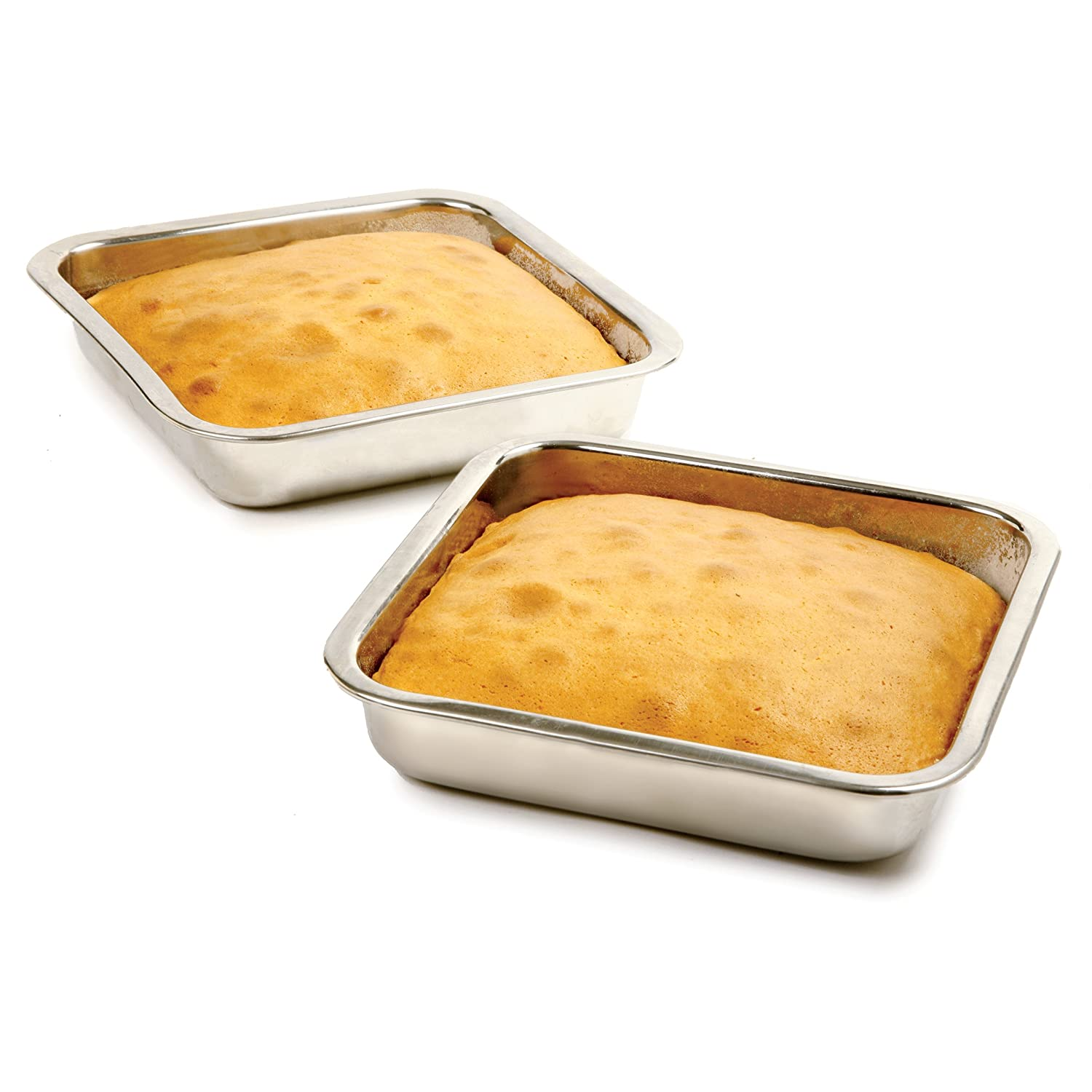 Amazon.com: Norpro 7.5-Inch Stainless Steel Cake Pan, Square ...
