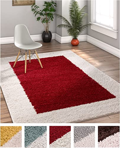 Porta Border Modern Geometric Shag 7×10 6 7 x 9 10 Area Rug Red Beige Plush Easy Care Thick Soft Plush Living Room