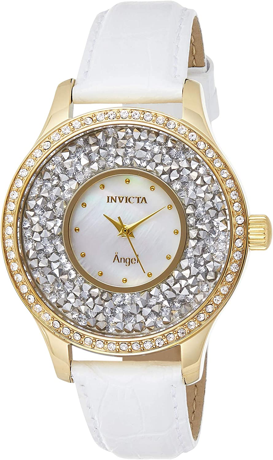 Invicta Women's Angel Stainless Steel Quartz Watch with Leather Calfskin Strap, White, 17 (Model: 24589)