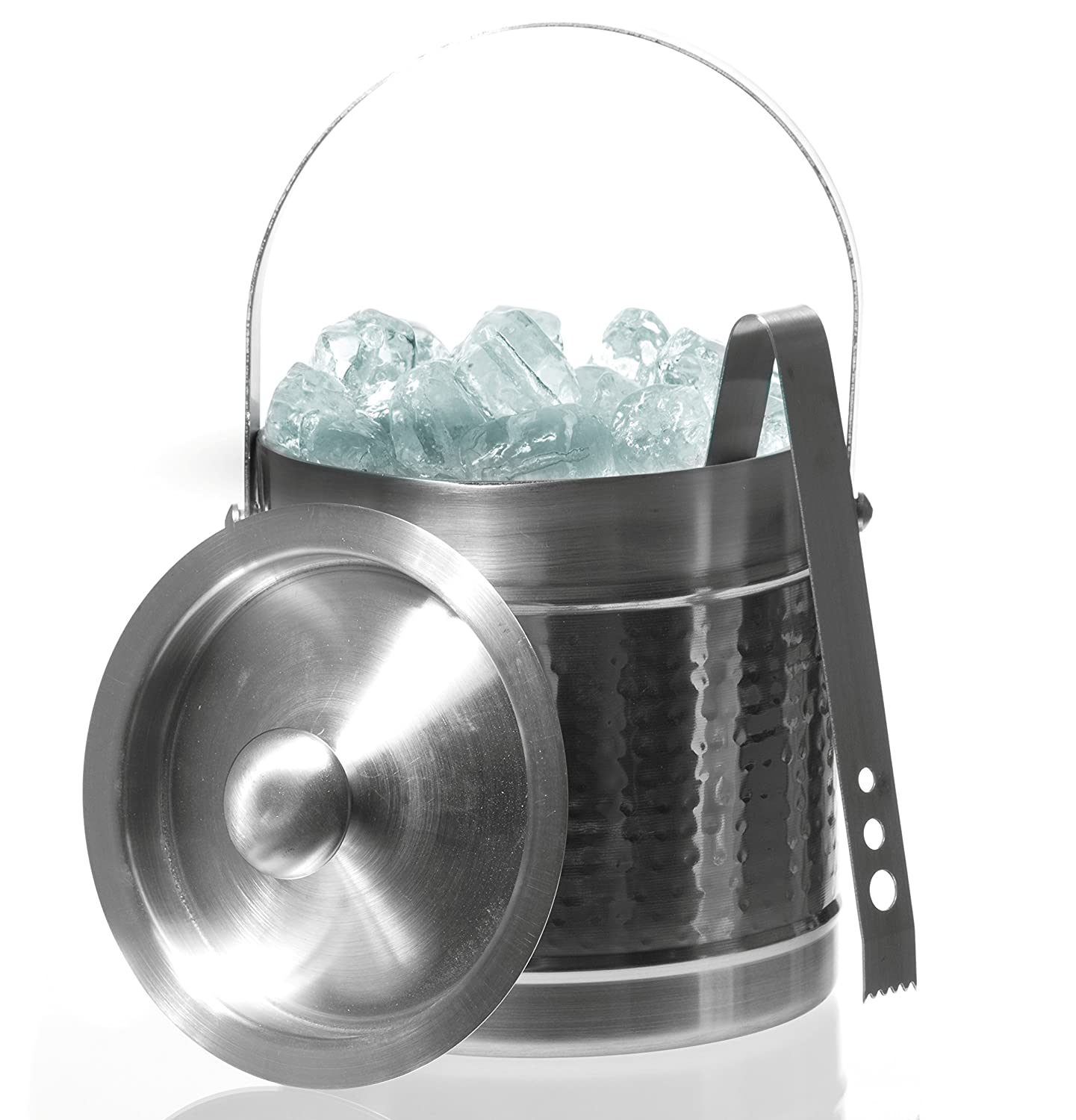 Stainless Steel Double Wall Ice Bucket With Tongs - Double Wall Ice Bucket Imperial Home MW1744