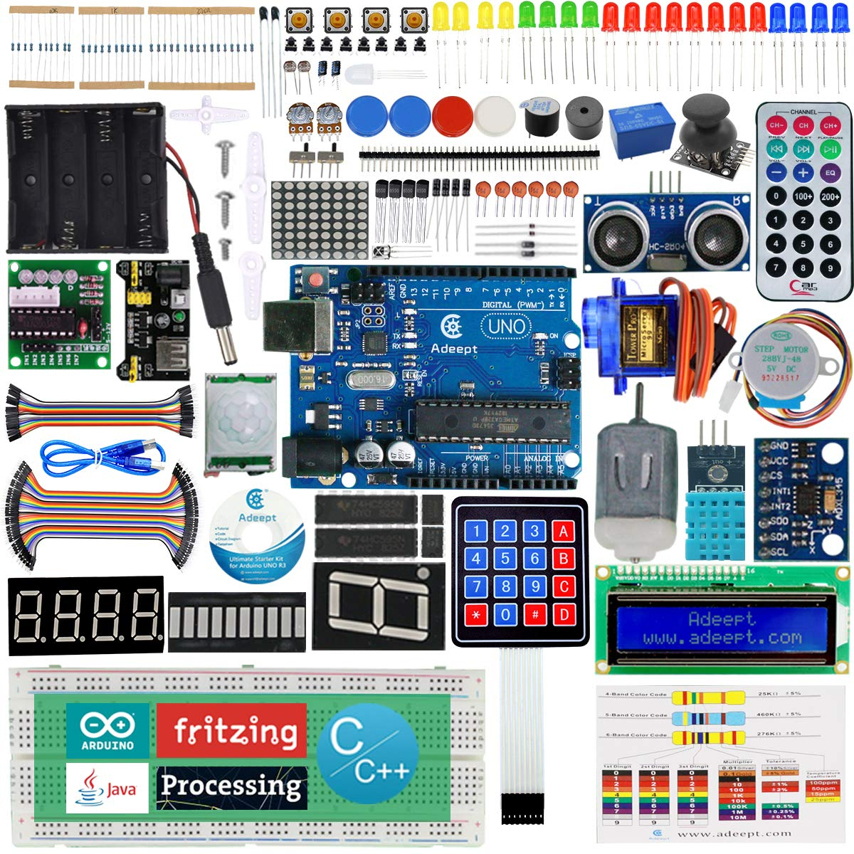 Adeept Ultimate Starter Kit for Arduino UNO R3, LCD1602, Servo Motor, Relay, Processing and C Code, Beginner Starter Kit with User Manual/Guidebook