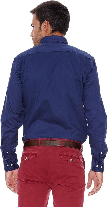 Pedro del Hierro Camisa Gabardina Azul S: Amazon.es: Ropa y ...