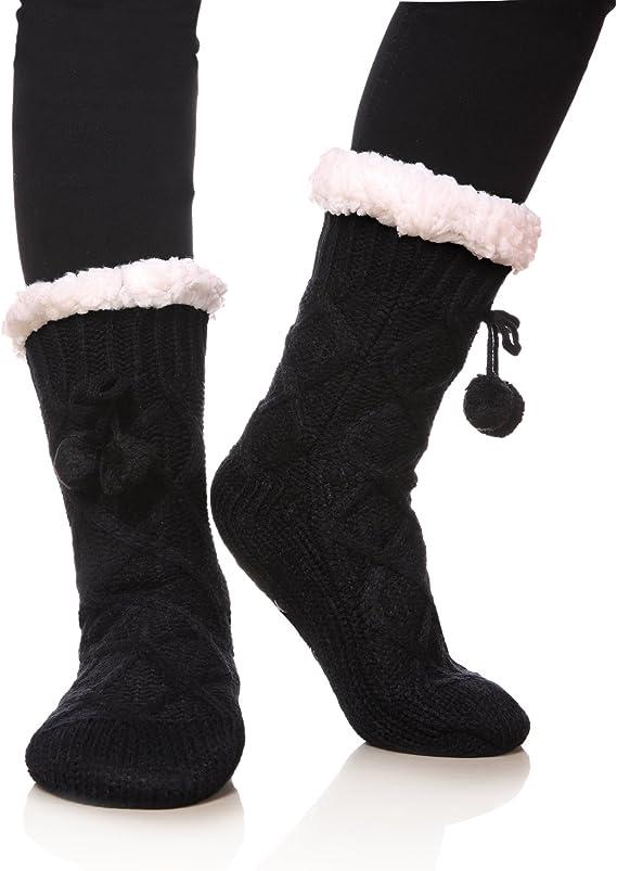 Women/'s Warm Fleece Undercover Chenille Chunky Knitted Comfy Slipper Bed Socks