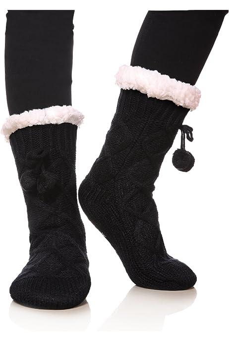 Women's Diamond Cable Knit Super Soft Warm Cozy Fuzzy Fleece-lined Winter Slipper Socks