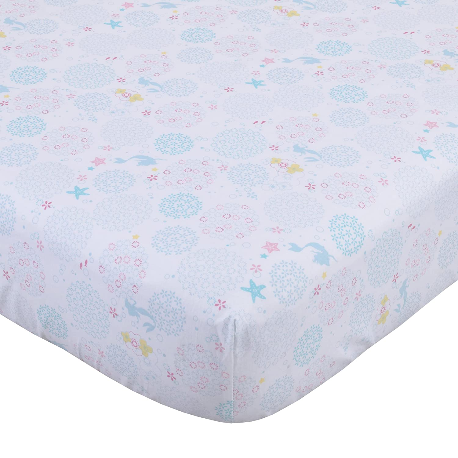 Disney Ariel Sea Princess Crib Sheet, White/Blue/Pink/Gold Crown Crafts Inc 3395003