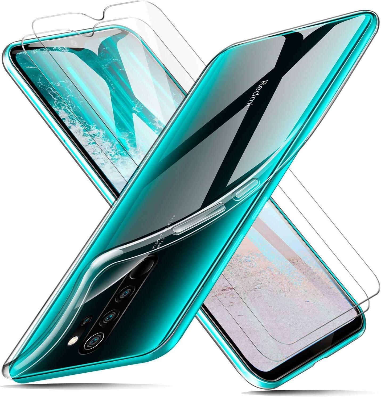 Casecool Funda + Cristal para Xiaomi Redmi Note 8 Pro, Transparente TPU Silicona Funda + 2 x Vidrio Templado Protector de Pantalla Choque Ultra Thin Anti Arañazos Choque Absorción