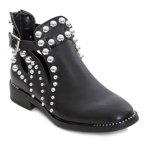 ab83d157138997 Toocool - Scarpe Donna Stivaletti Bassi Borchie Biker Boots Primavera Strass  Nuovo G340 [41,Nero]: Amazon.it: Scarpe e borse