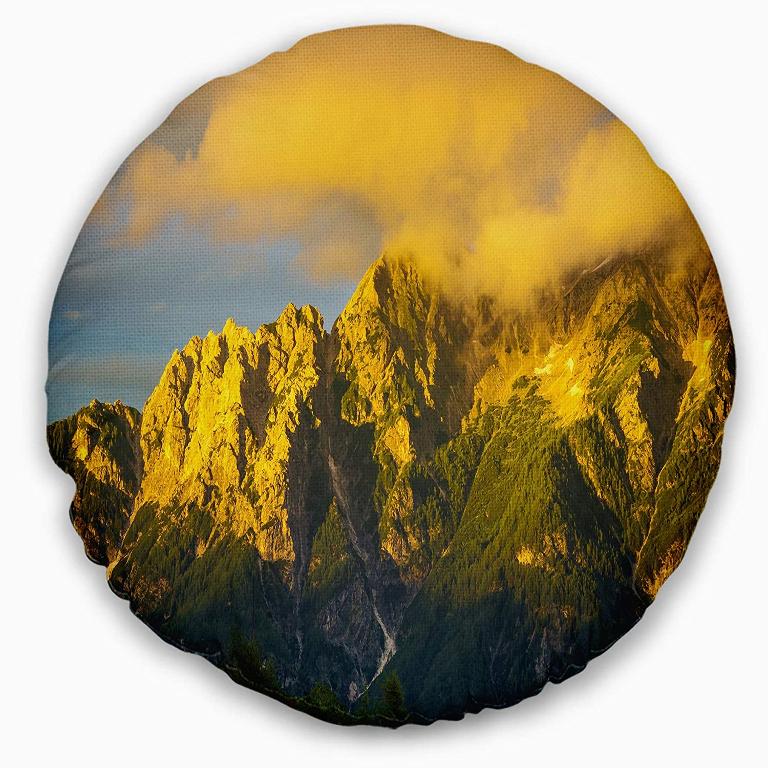 Insert Side Designart CU13116-20-20-C Beautiful Green Mountains Panorama Landscape Printed Round Cushion Cover for Living Room Sofa Throw Pillow 20