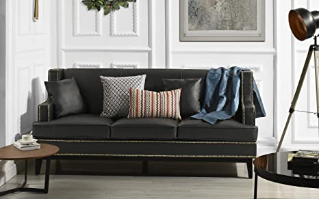 Modern Bonded Leather Sofa with Nailhead Trim Detail (Black)