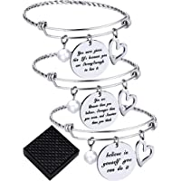 3 Pieces Inspirational Bangle Bracelets Adjustable Motivational Bracelet Stainless Steel Jewelry for Christmas Birthday…