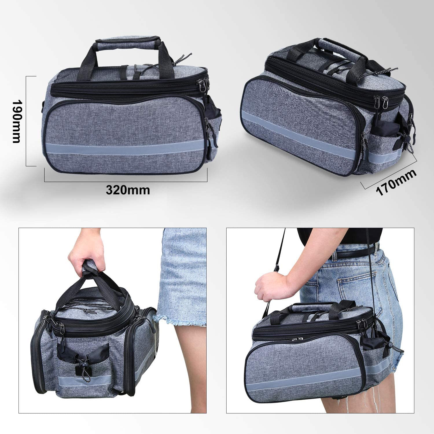 Wildken Bike Pannier Bags Outdoor Waterproof Bike Rear Seat Bag Portable Bicycle Trunk Bag with Rain Cover and Detachable Shoulder Strap