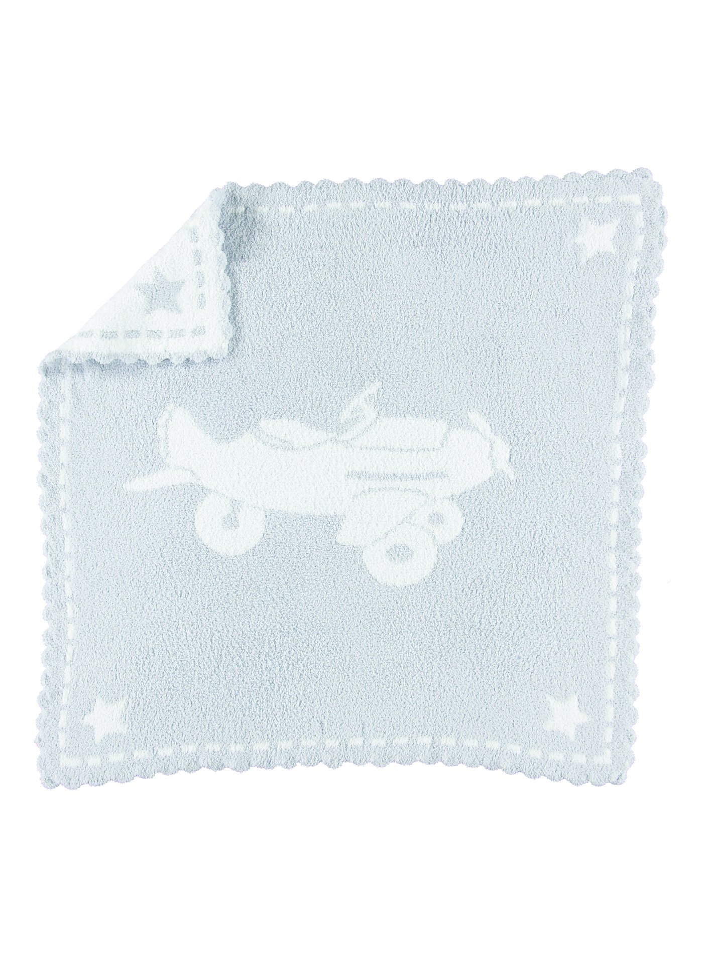 Barefoot Dreams CozyChic Scalloped Baby Receiving Blanket - Blue & White 30x 32 by Barefoot Dreams