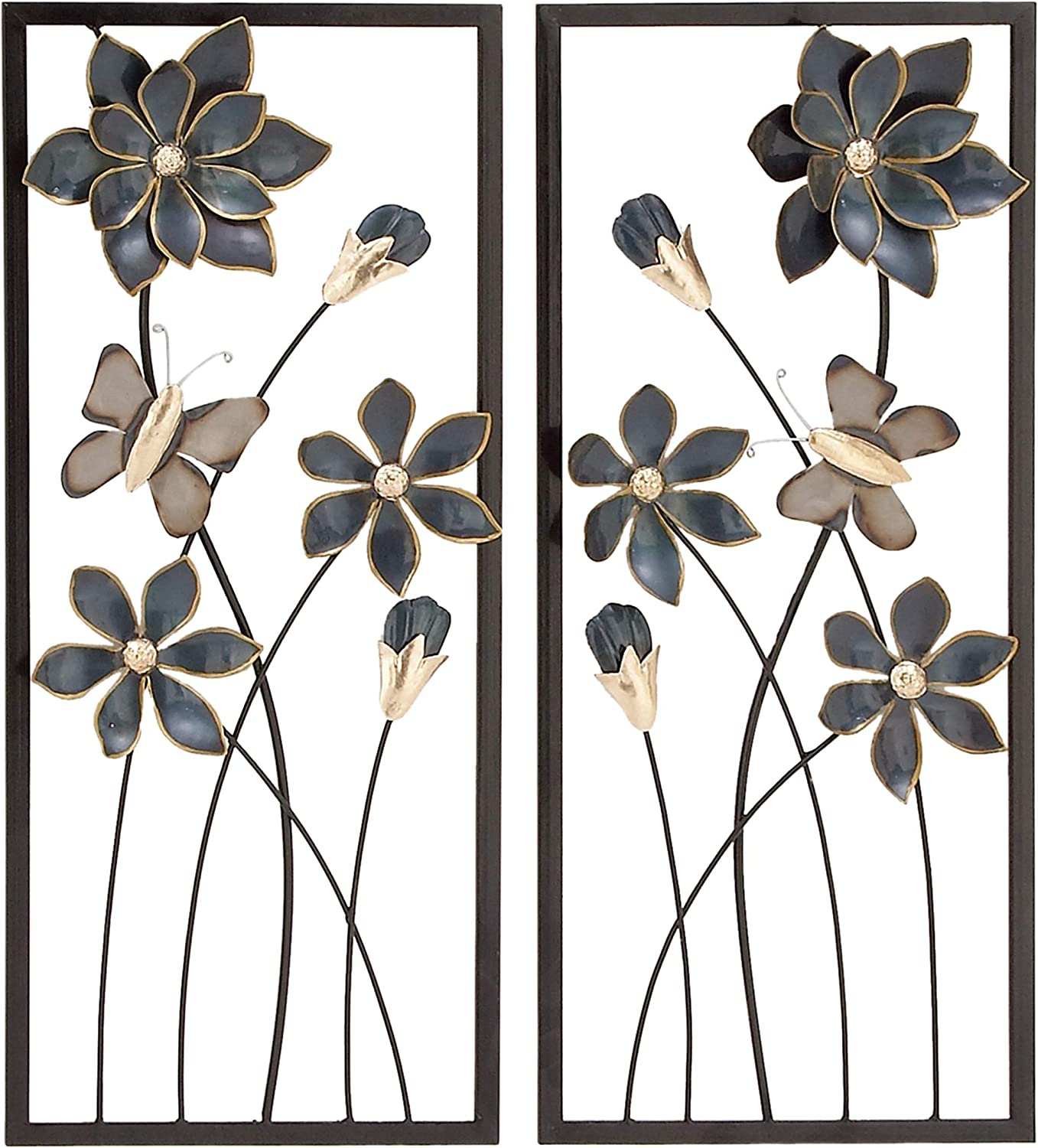 "Deco 79 53361 Metal Wall Decor (Set of 2), 12"" x 28"", Blue/Silver/Gold/Black"