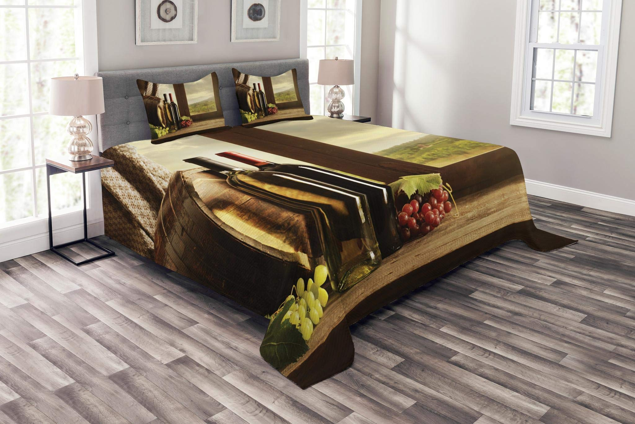 Lunarable Winery Bedspread Set Queen Size, Dark Clouds Over Vineyard Rainy Weather View from Window of Farmhouse Scenery, Decorative Quilted 3 Piece Coverlet Set with 2 Pillow Shams, Green Brown Red