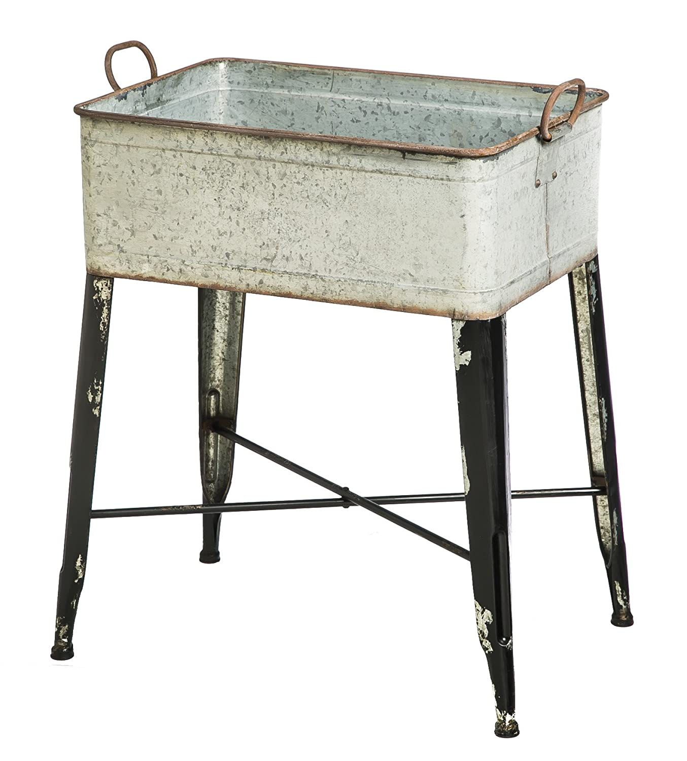 popular galvanized metal ideas of tub wash tubswheeled marvelous double and wheeling vintage stand with furniture chairs fixed pict