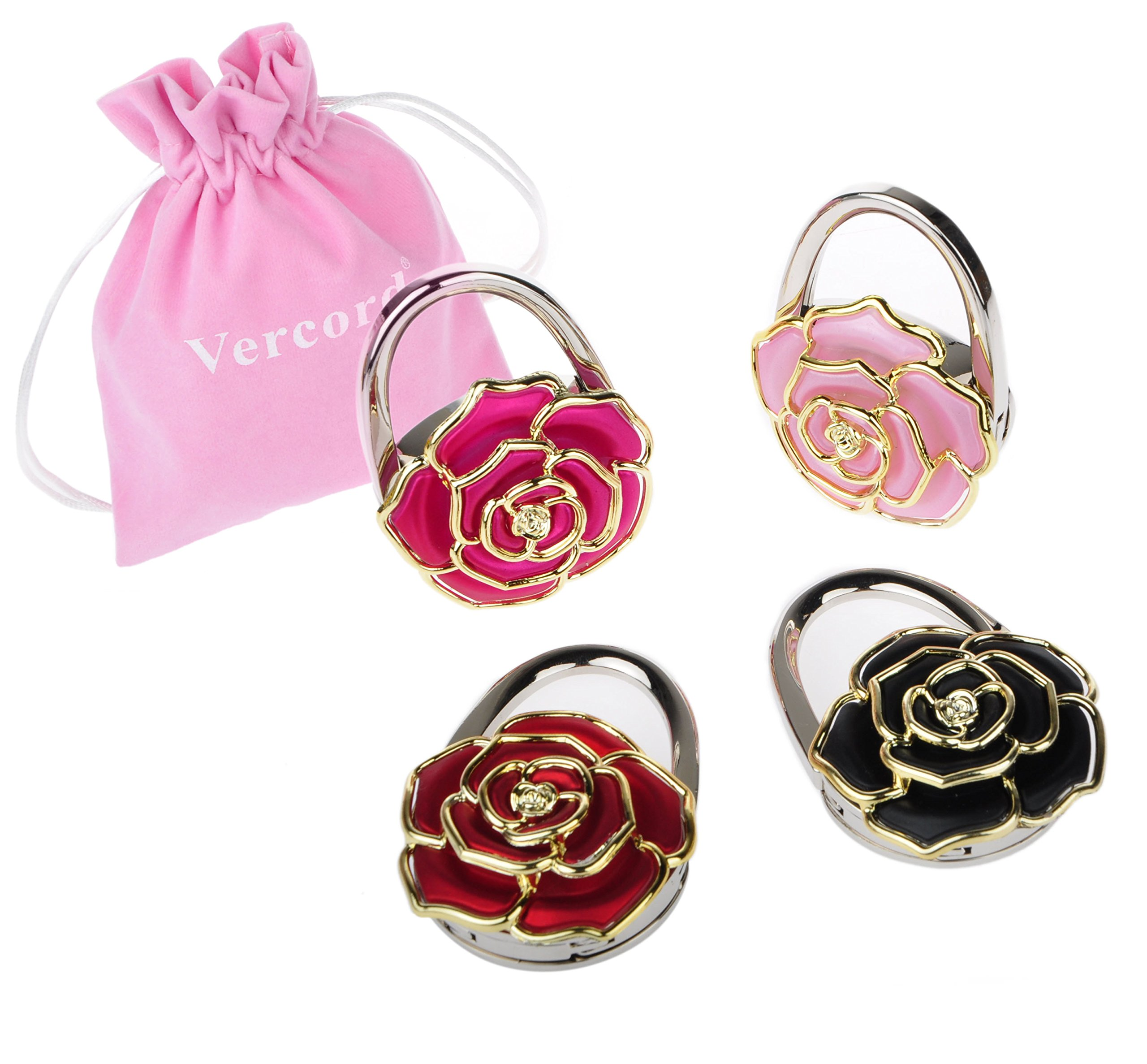 Vercord 4 Pack Rose Theme Foldable Instant Bag Handbag Purse Hangers Hooks, Flowers#8