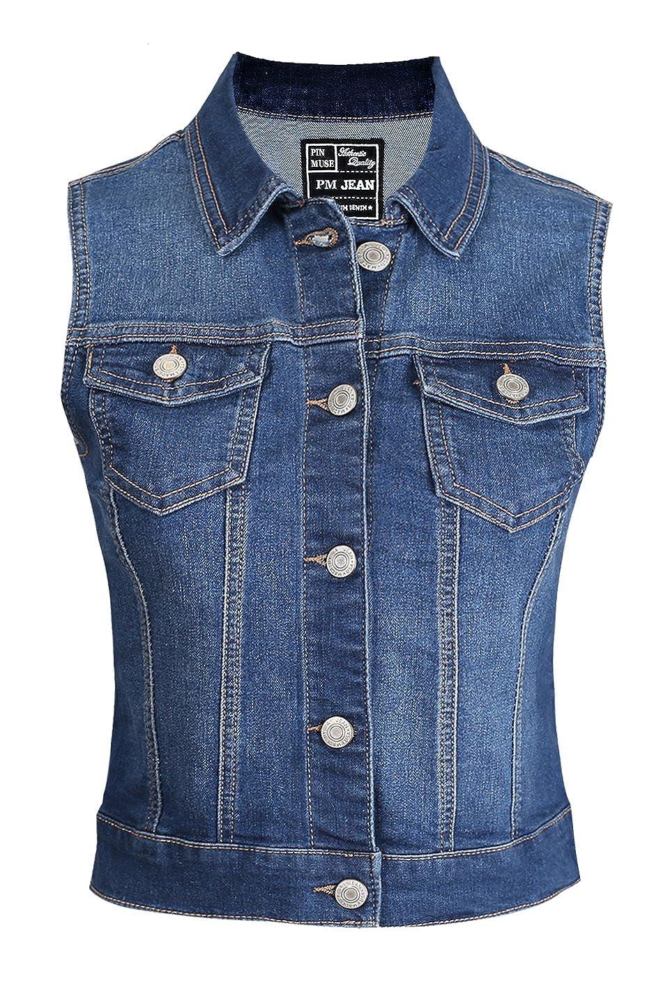 Women's Denim Vest Stretchy Nice Stone Washed W Hand sanding S M L 1XL 2XL 3XL