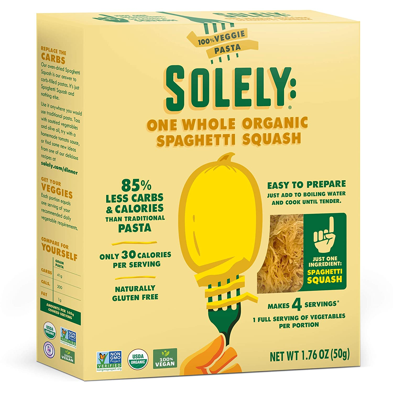 SOLELY Organic Dried Spaghetti Squash, 1.76 oz | One Ingredient: Spaghetti Squash | Naturally Gluten Free | Non-GMO | Low Carb and Keto-Friendly | Quick and Easy to Prepare