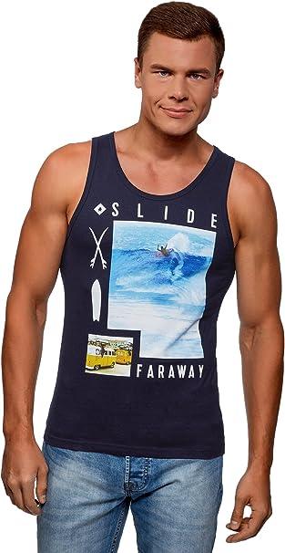 oodji Ultra Hombre Camiseta de Tirantes con Estampado de Verano