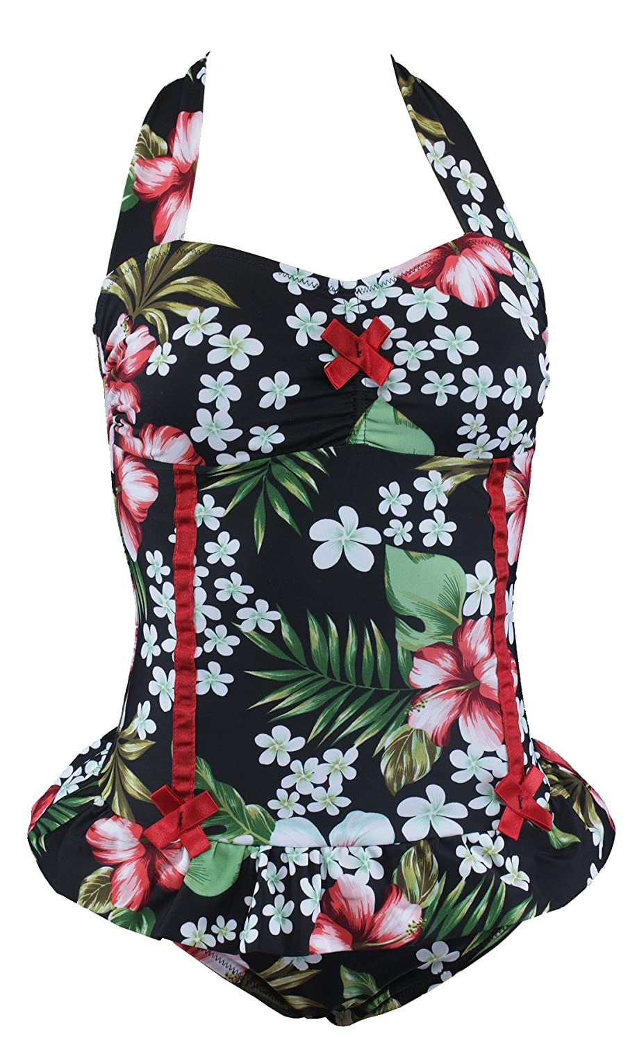 aloha beachwear gebl mter vintage style neckholder damen badeanzug tiki look hibiskus flower. Black Bedroom Furniture Sets. Home Design Ideas