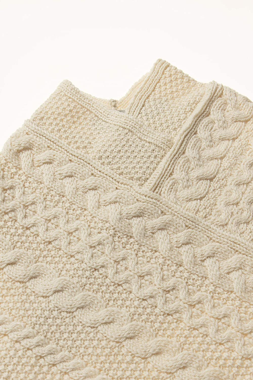 100/% Merino Wool Aran Crafts Kids Irish Cable Knitted Soft Cape Poncho