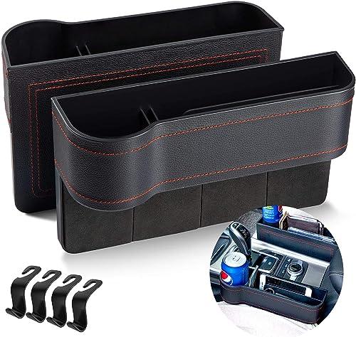 Homesprit 2 Packs Premium PU Black Car Seat Gap Filler