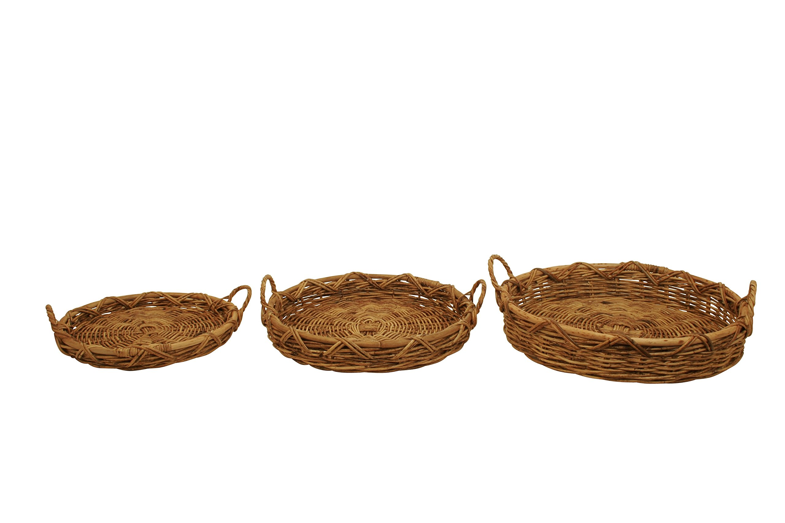 Wald Imports Natural Jawit Kubu Rattan Rattan - Kubu   Decorative Nesting Trays, Set of 3