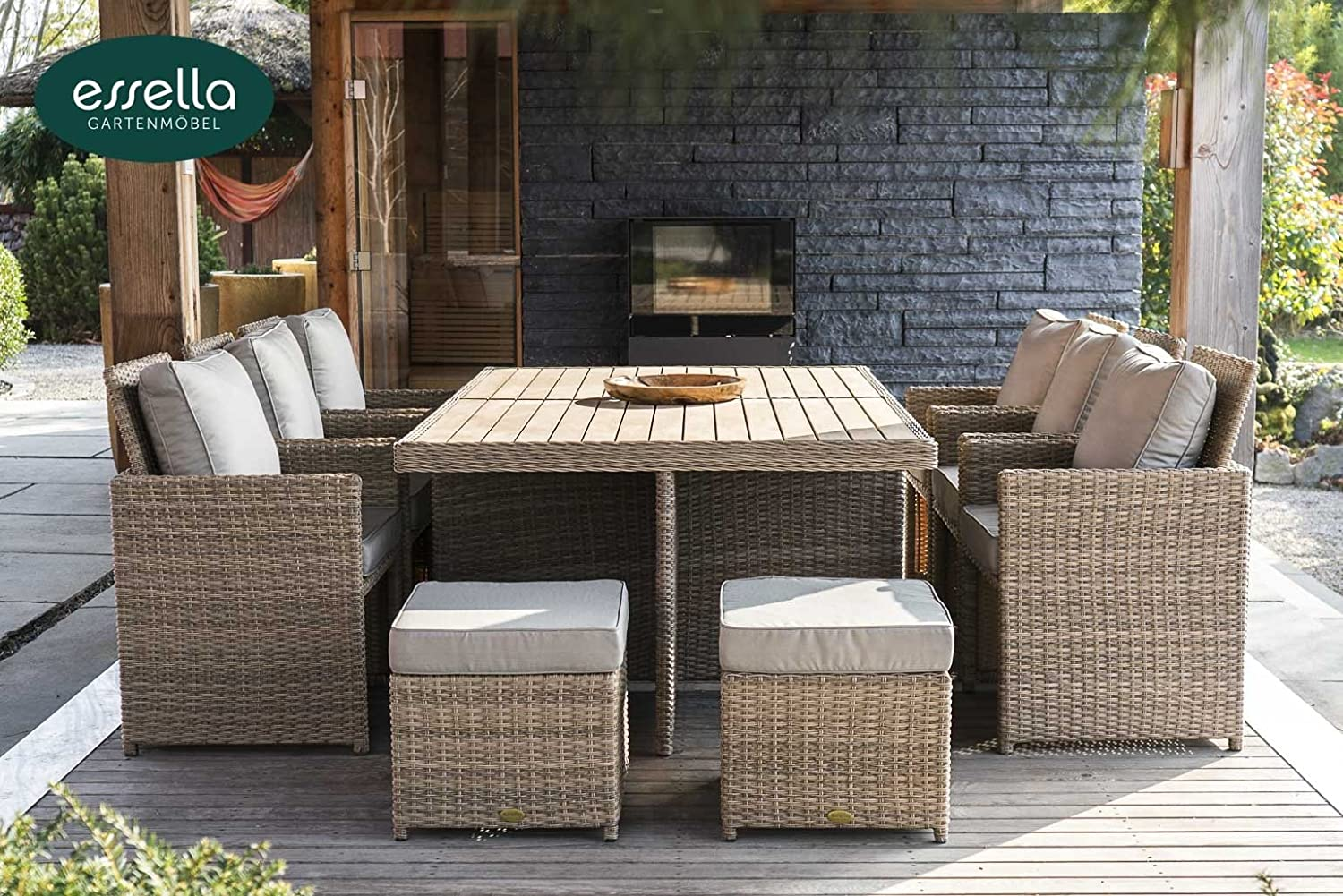 polyrattan sitzgruppe vienna 6 personen polywood rundgeflecht hellbraun gartenm bel. Black Bedroom Furniture Sets. Home Design Ideas