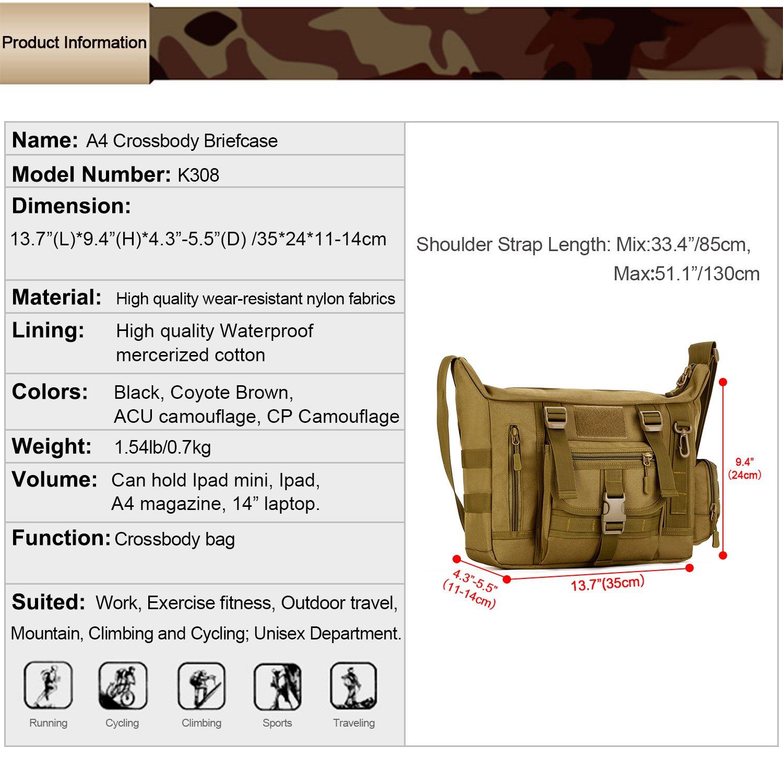 6dd9d59dae23 Amazon.com   Huntvp Tactical Messenger Bag Shoulder Bag Cross Body Bag Belt  Sling Bags Laptop for Working Cycling Hunting Camping Trekking   Sports    ...