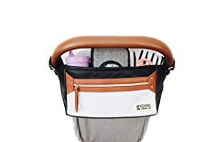 Itzy Ritzy Adjustable Stroller Caddy – Stroller Organizer Featuring Two Built-in Pockets, Front Zippered Pocket and Adjustable Straps to Fit Nearly Any Stroller, Coffee and Cream